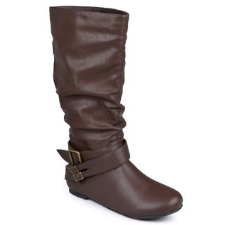 Journee Collection Women's Regular and Wide-Calf 'Shelley-5' Slouch Buckle Microsuede Boot