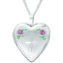 Sterling Silver Heart-shaped Cross with Flowers Locket