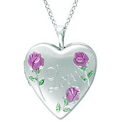 Sterling Silver Heart-shaped 'Love' Flowers Locket