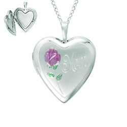 Sterling Silver Heart-shaped 'Mom' Flower Locket