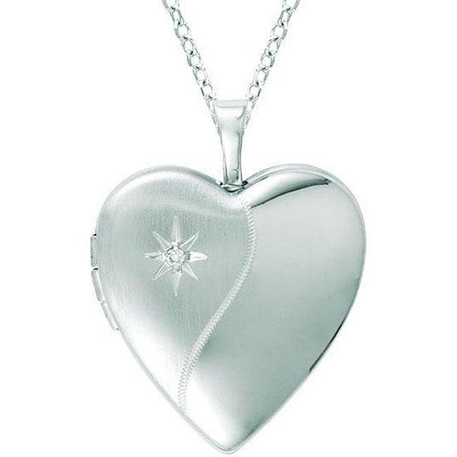 Sterling Silver Heart-shaped Diamond Locket