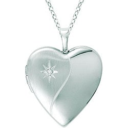 Sterling Silver Heart-shaped Diamond Locket