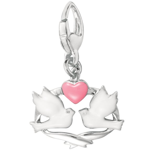 Sterling Silver Enamel Dove Band Heart Charm
