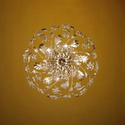 Austrian Crystal 6-light Gold Leaf Ceiling Lamp