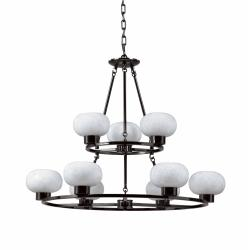 Atomique White Glass 9-light Chandelier