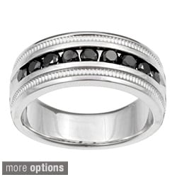 Sterling Silver Men's 1/2 or 1ct TDW Black Diamond Band