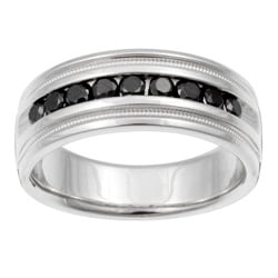 Unending Love Sterling Silver Men's 1/2ct TDW Black Diamond Band