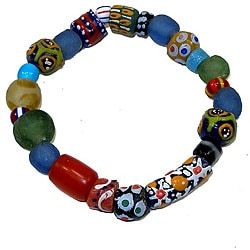 Hand-painted Glass Bead Bracelet (Ghana)