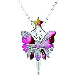 Pewter Vintage Pink Fairy Necklace