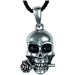Pewter Skull and Rose Necklace