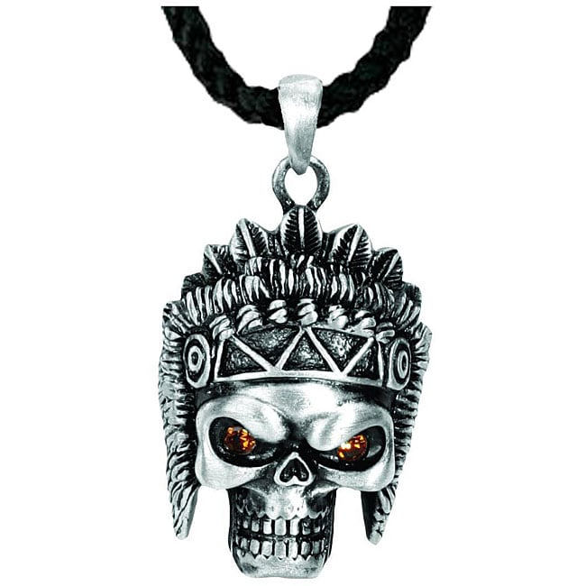 Pewter Indian Skull Necklace