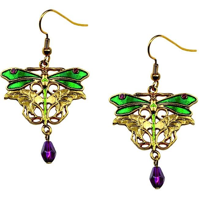 Goldtone Pewter Purple Crystal Dragonfly Earrings