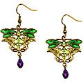 Goldtone Pewter Purple Crystal Dragonfly Earrings