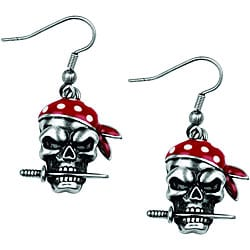 Lead-free Pewter Pirate Dagger Shepherd's Hook Pendant Earrings