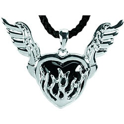Pewter Flaming Black Heart Necklace
