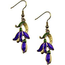 Pewter Art Nouveau Flower Vine Earrings