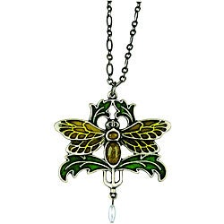 Pewter Art Nouveau Vintage Moth Necklace