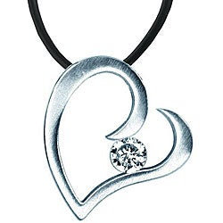 Stainless Steel Cubic Zirconia Charmed Heart Necklace