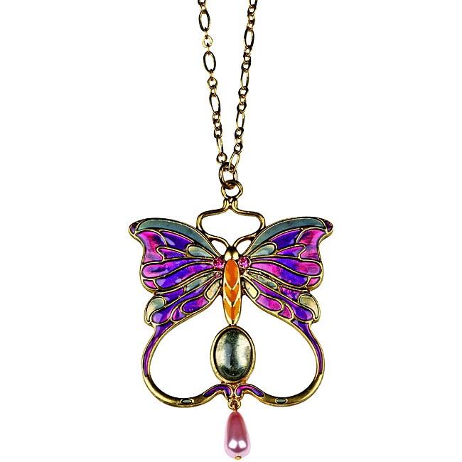 Pewter Art Nouveau Vintage Butterfly Necklace