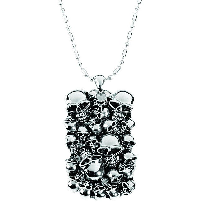32-inch Women's Pewter Skull-mound Dog-tag Necklace with Ball-chain