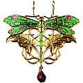 Goldtone Pewter Art Nouveau Dragonfly Necklace