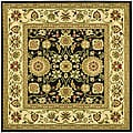 Lyndhurst Collection Majestic Black/ Ivory Rug (6' Square)