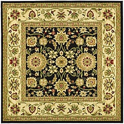 Lyndhurst Collection Majestic Black/ Ivory Rug (8' Square)
