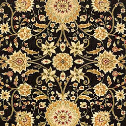 Lyndhurst Collection Majestic Black/ Ivory Rug (6' x 9')