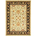 Lyndhurst Collection Majestic Ivory/ Black Rug (6' x 9')