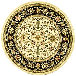 Lyndhurst Collection Majestic Ivory/ Black Rug (5'3 Round)