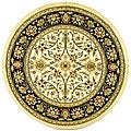 Lyndhurst Collection Majestic Ivory/ Black Rug (8' Round)