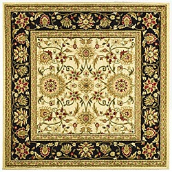 Lyndhurst Collection Majestic Ivory/ Black Rug (6' Square)