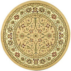 Lyndhurst Collection Majestic Beige/ Ivory Rug (5'3 Round)