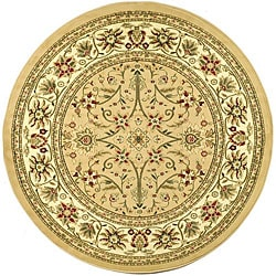 Lyndhurst Collection Majestic Beige/ Ivory Rug (8' Round)