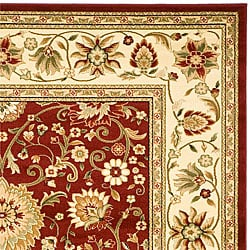 Lyndhurst Collection Majestic Red/ Ivory Rug (6' x 9')
