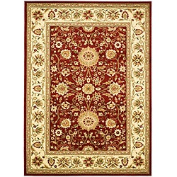 Lyndhurst Collection Majestic Maroon/Ivory Rug (8' x 11')