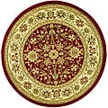 Lyndhurst Collection Majestic Red/ Ivory Rug (5'3 Round)