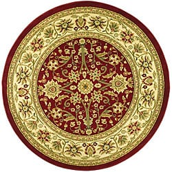 Lyndhurst Collection Majestic Red/ Ivory Rug (8' Round)