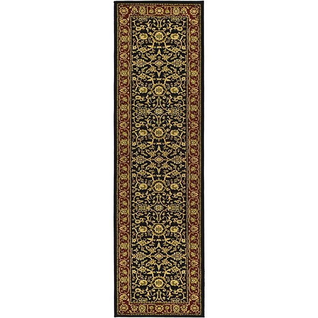 Safavieh Lyndhurst Collection Majestic Black/ Red Runner (2'3 x 8')