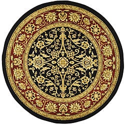 Lyndhurst Collection Majestic Black/ Red Rug (5'3 Round)