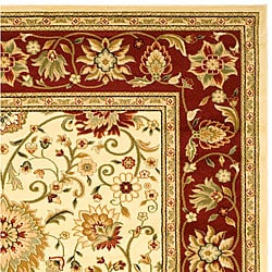 Lyndhurst Collection Majestic Ivory/ Red Rug (6' x 9')