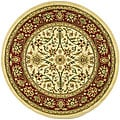 Lyndhurst Collection Majestic Ivory/ Red Rug (5'3 Round)