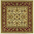 Lyndhurst Collection Majestic Ivory/ Red Rug (6' Square)