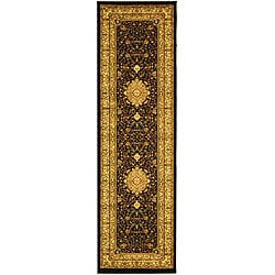 Lyndhurst Collection Mashad Black/ Ivory Runner (2'3 x 16')