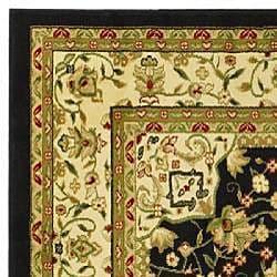 Lyndhurst Collection Mashad Black/ Ivory Rug (6' x 9')