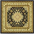 Lyndhurst Collection Mashad Black/ Ivory Rug (8' Square)