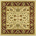 Lyndhurst Collection Tabriz Ivory/ Red Rug (6' Square)