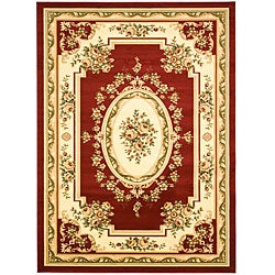 Lyndhurst Collection Red/Ivory Rug (8' x 11')