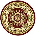 Lyndhurst Collection Red/ Ivory Rug (5'3 Round)
