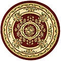 Lyndhurst Collection Red/ Ivory Rug (8' Round)